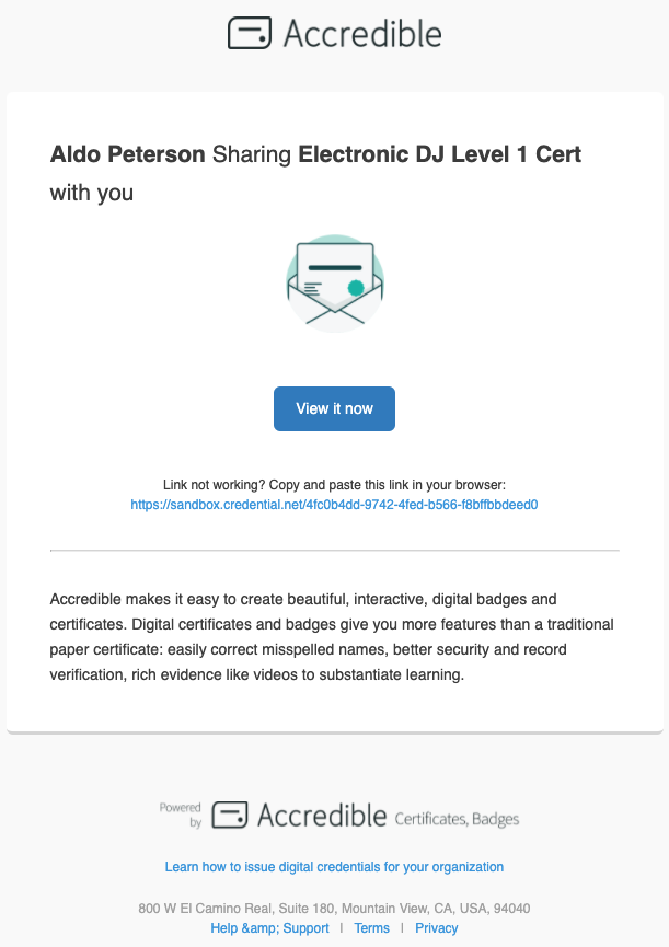 Send Email Direct from the Credential View 2