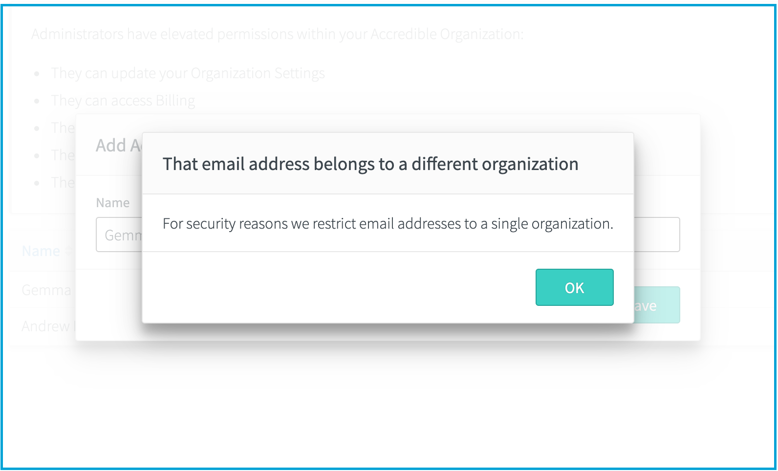 That email address belongs to a different organization For security reasons we restrict email addresses to a single organization